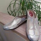 J. Renee Women's Noella Clog Mule Shoe Silver Metallic - Size 12W - EXCELLENT!