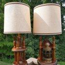Vintage Carrington Nautical Ships Lantern Brass & Mahogany Table Lamps w/ 'Flickering Candle'!