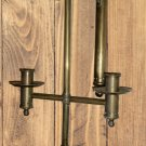 Vintage Handheld Double Chamberstick Wall Sconce - Brass & Wood - UNUSUAL!