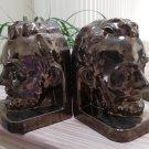 Vintage Bronze Tone Ceramic Abe Lincoln Bookends - 1980s!