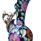 Vintage 1940's Hand-Painted H.Bequet Quaregnon of Belgium Majolica Vase with Gazelle Handle lft #302