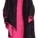 Gypsy Boho Gothic Hi-Low 'Stevie Nicks' Style Asymmetrical Coat Jacket - Black/Pink - OSFM!