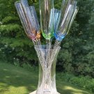 """Bouquet of 6 Multi Color 17"""" Long Stem Champagne Toasting Flutes in Glass Vase!"""