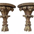 Ornate Classic Acanthus Leaf Bouquet Wall Shelves Antique Gold - Set of 2 - MADE IN USA!