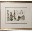 Bearded Painter in a Dressing Gown with Two Nude Women and a Visitor,from 347 Suite-Picasso-COA