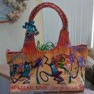 CARIBBEAN SOUL Canvas Beach Shoulder Tote Bag 3D Dancing Lizard Charm!