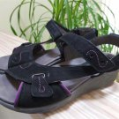 Cobb Hill by New Balance Black Suede Wedge Sandals with 3 Touch-Close Straps - Size 8!