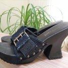 Vintage Two Lips 'Swinc' Denim Wood Platform Adjustable Strap Platform Slides - Size 8!