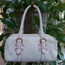 Dooney & Bourke Marchesa Cream Pebbled Arnella Leather with Pink Piping Duffle Satchel Handbag!