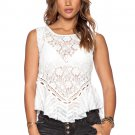 Free People Womens Dark Bloom Lace Tank Top - Ivory - Size L - #F865U836 - NWT!