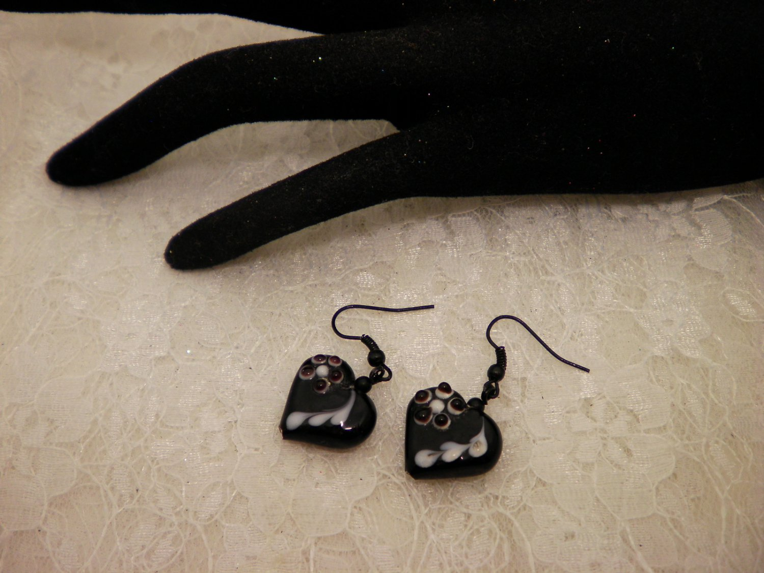 Black Heart Lampwork Glass Earrings