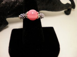 Silver Pink Bead Ring