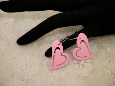 Pink Wood Cut Out Heart Earrings Choose Color