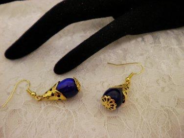 Blue Tear Drop Golden Earrings