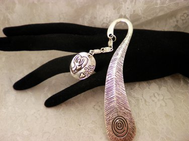 Silver Peacock Feather Charmed Book Mark