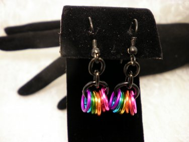 Black and Colored Ring Earrings