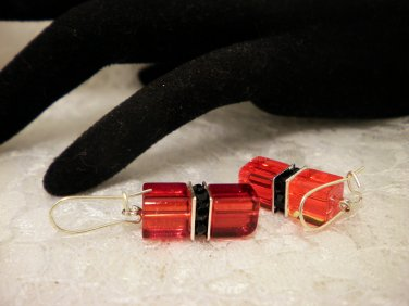 Red and Black Cubed Crystal Earrings