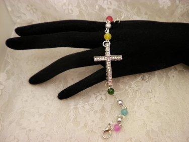 Color Beaded Crystal Cross Bracelet