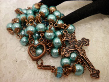 Blue Pearls and Copper Rosaries