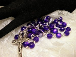 Purple Cats Eye Beaded Rosaries