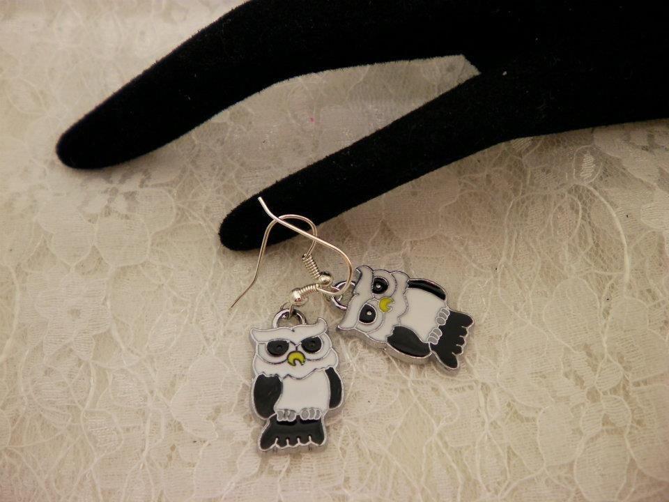 Owl Metal Charm Earrings