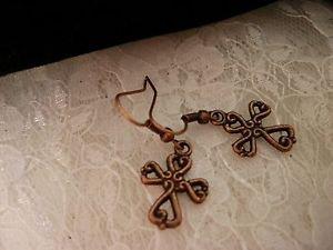 Copper Cross Charm Earrings