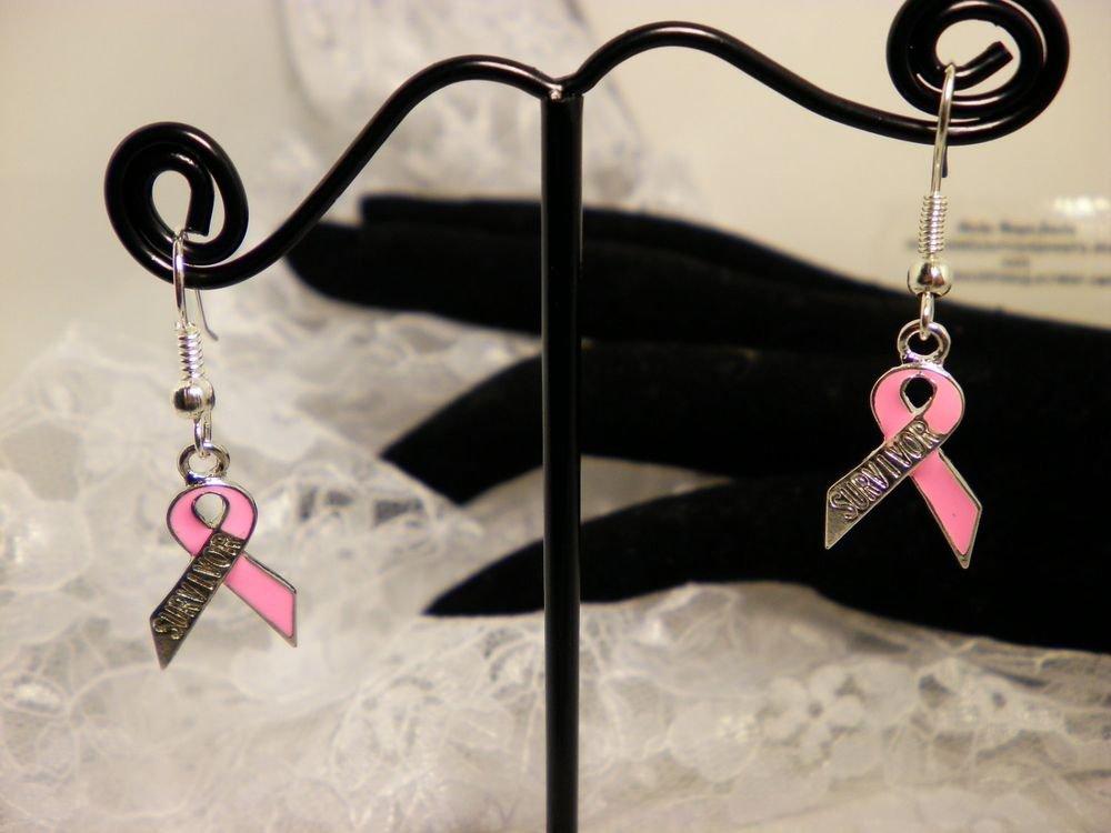 Awareness Breast Cancer Pink Ribbon Survivor Earrings