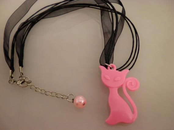 Pink Cool Kitty Charm Necklace