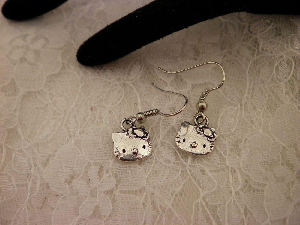 Silver Hello Kitty Charm Earrings