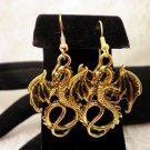 Golden Dragon Charm Earrings