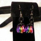 Black Colored Rings Dangle Earrings