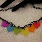 Rainbow Colored Leaf Choker On Black Chain