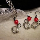 Vampire Teeth Charm Necklace and Earring Set....