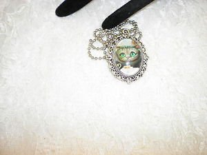Alice in Wonderland Cheshire Cat Silver Framed Glass Cabochon Pendant Necklace