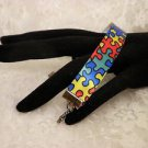 Autism Awareness Puzzle Print Ribbon Bracelet