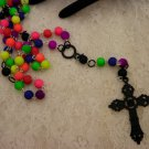 Multicolor Neon Rosary Prayer Beads Necklace