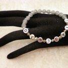 Custom Made Awareness Gray Crystal Diabetic ALERT Beaded Bracelet