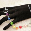 "Rainbow Glass Pearled Silver Chain Necklace 18"" Long"