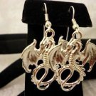 Dragon Winged Bright Silver Winged Charm Dangle Earrings