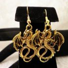 Winged Dragon Bright Golden Metal Dragon Charm Dangle Earrings