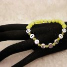 Custom Made Awareness Yellow Crystal Diabetic ALERT Bead Bracelet