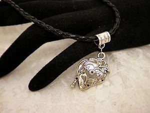 Vintage Style Silver Metal Face Lady Charm Necklace Black Cord
