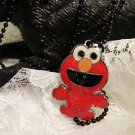 Kids Jewelry Red Colored ELMO Charm Necklace Black Ball Chain
