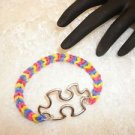 Handmade Autism Awareness Puzzle Charm Rubber Band Style Bracelet Stretch