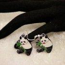 Black & White Colored Eanamel Panda Charm Surgical Steel Earrings