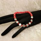 Customized Bright Red Diabetic Alert Crystal Beaded Bracelet Or Personalize Name