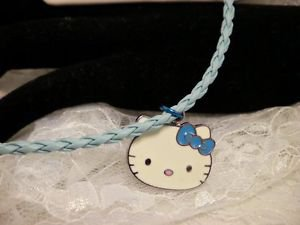 Hello Kitty Metal Charm Blue Cord Pendant Necklace Kids Jewelry