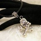 Gothic Skull Cross Bones Silver Pendant Black Cord Bail Necklace