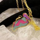 """RARE"" TY Beannie Colorful BUNNY Golden Charm Necklace Kids Jewelry"