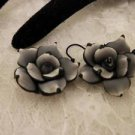 Handmade Polymar Clay Rose Grey & Black Dangle Earrings